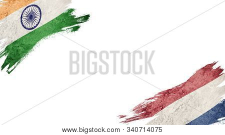 Flags Of India Andnederland On White Background
