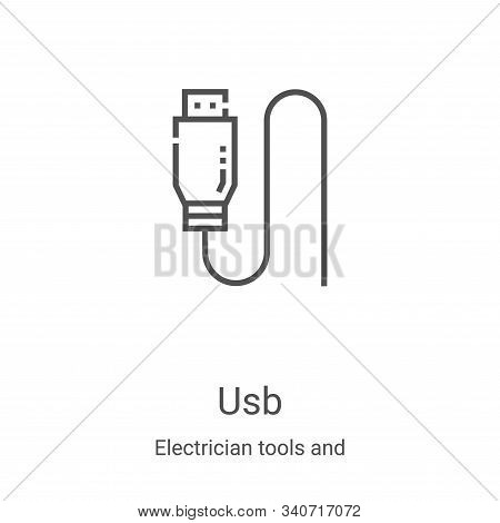 usb icon isolated on white background from electrician tools and elements collection. usb icon trend