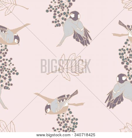 Pink Vector Pattern With Birds Pecking Berries
