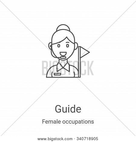 guide icon isolated on white background from female occupations collection. guide icon trendy and mo
