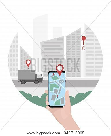 Close-up Of A Person S Hand Holds Smartphone For Tracking Delivery. City Skyline And Truck On The Wh