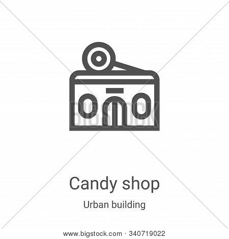 candy shop icon isolated on white background from urban building collection. candy shop icon trendy