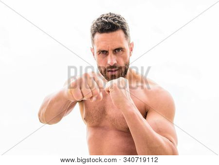 Training His Boxing Skills. Punching Knockout. Energy Health. Sportsman Celebrates Victory. Negative