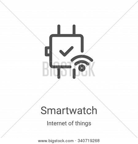 smartwatch icon isolated on white background from internet of things collection. smartwatch icon tre