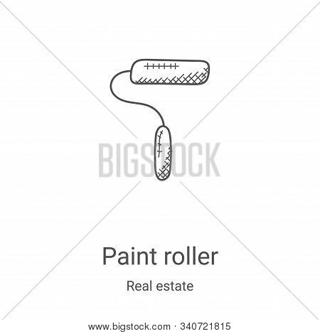 paint roller icon isolated on white background from real estate collection. paint roller icon trendy