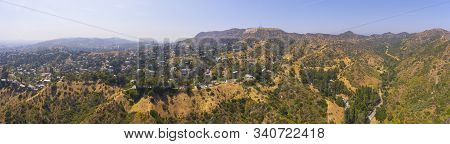 Los Angeles - Jun 15, 2019: The Hollywood Sign Panorama Aerial View Griffith Park, Mount Lee, Hollyw