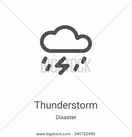 thunderstorm icon isolated on white background from disaster collection. thunderstorm icon trendy an