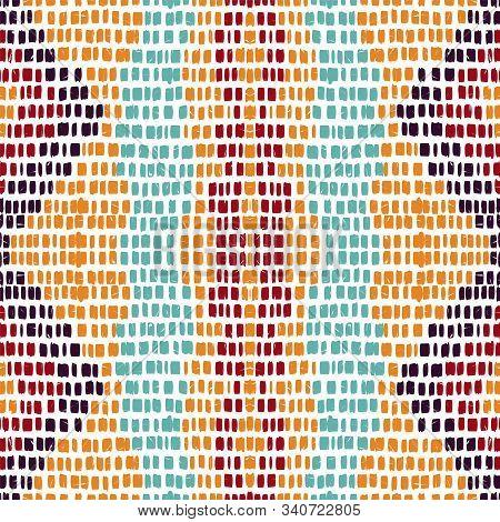 Marine Arabic Carpet. Pink Batik Vector Seamless Pattern. African Tile Stripe Print. Pink Uzbek Psyc