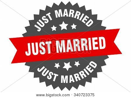 Just Married Sign. Just Married Red-black Circular Band Label