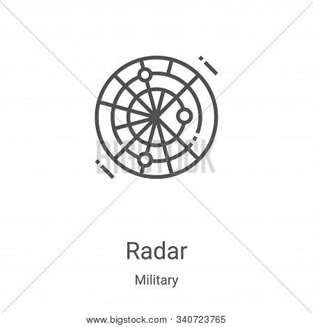 radar icon isolated on white background from military collection. radar icon trendy and modern radar
