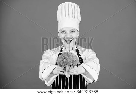 You Never Tasted Broccoli Like This. Lady Cook Smiling With Organic Broccoli Plant. Happy Woman Hold