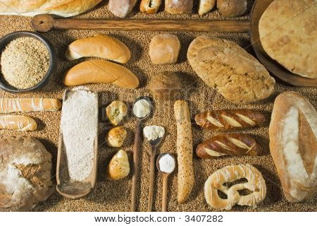 Various Types Of Bakery With Wooden Spoon