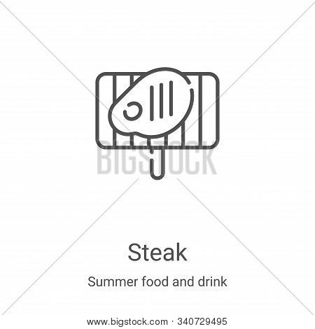 steak icon isolated on white background from summer food and drink collection. steak icon trendy and