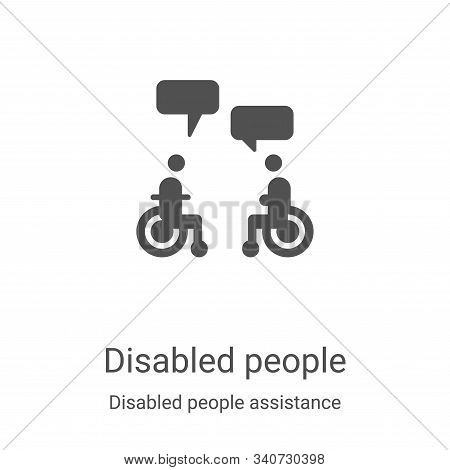 disabled people icon isolated on white background from disabled people assistance collection. disabl