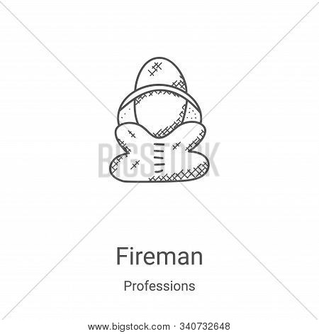fireman icon isolated on white background from professions collection. fireman icon trendy and moder