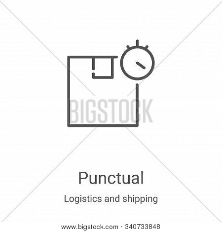 punctual icon isolated on white background from logistics and shipping collection. punctual icon tre