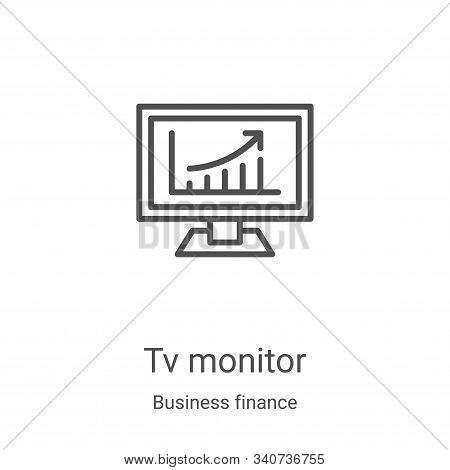 tv monitor icon isolated on white background from business finance collection. tv monitor icon trend