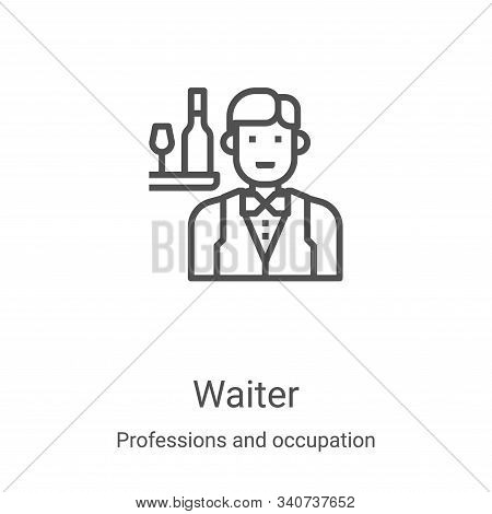 waiter icon isolated on white background from professions and occupation collection. waiter icon tre