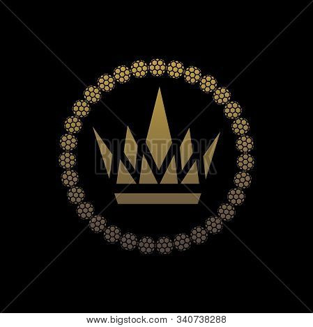 Crown And Bracelet. Illustration Of Crown And Bracelet On Black Background As Symbol Of Quality Jewe