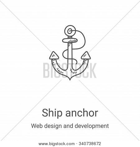 ship anchor icon isolated on white background from web design and development collection. ship ancho