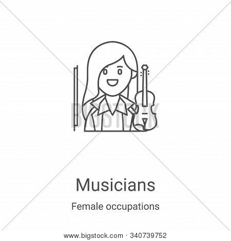musicians icon isolated on white background from female occupations collection. musicians icon trend