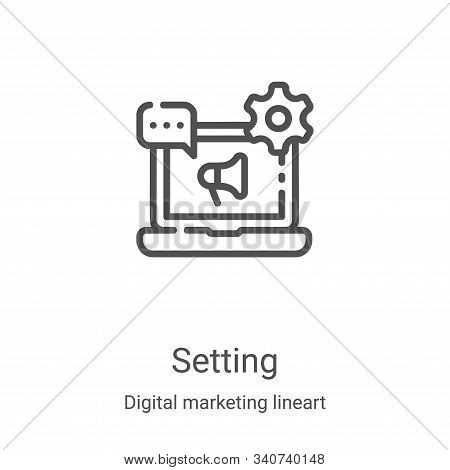 setting icon isolated on white background from digital marketing lineart collection. setting icon tr
