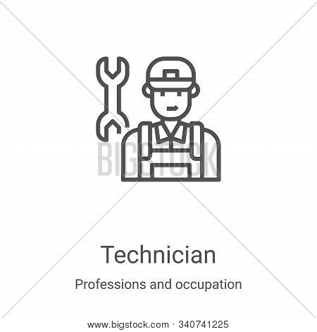 Technician Icon Vector From Professions And Occupation Collection. Thin Line Technician Outline Icon