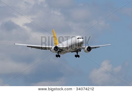 Modern cargo jet airplane approach for landing poster