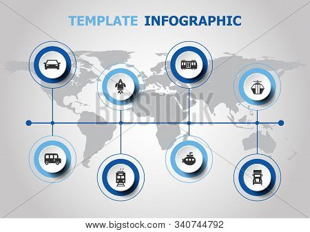 Infographic Design With Vehicle Icons, Stock Vector