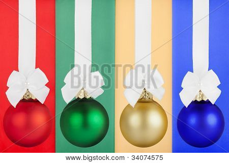 Christmas Bulbs With White Ribbon