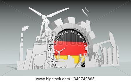 Energy And Power Industrial Concept. Gear With Flag Of The Germany. Energy Generation And Heavy Indu
