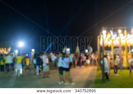 Yellow Blurred Lights And Blurred People In Loi Krathong Festival At Phayao Thailand