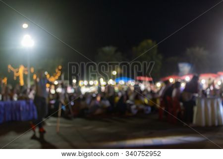 Blurred People In Loi Krathong Festival At Phayao Thailand