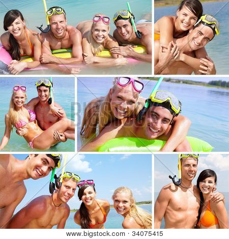 Collage of happy friends spending summer vacation at the seaside