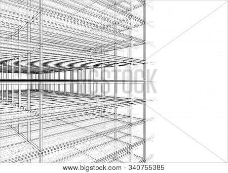 Drawing Or Sketch Of A House Under Construction. Construction Site. Main Line, Back Contour And Auxi