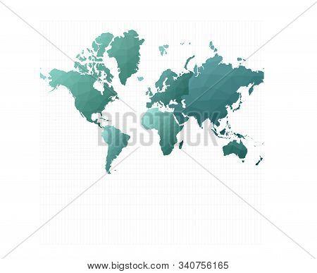 World Map Continents. Mercator Projection. Stylish Vector Illustration.