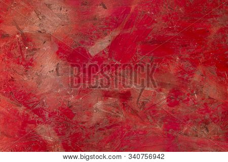 Natural Red Background. Inaccurately Painted Red Paint Old Pressed Surface. Red Panel Of Sawdust. Ho