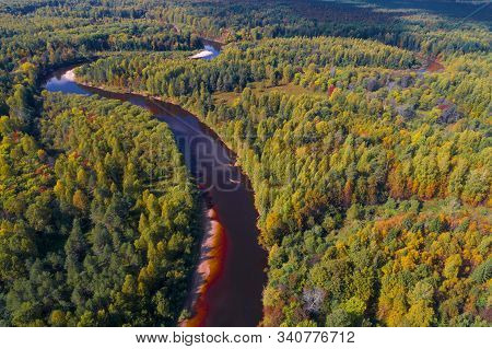 Over The Mega River On A Sunny September Day. Kostroma Region, Russia