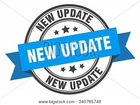 New Update Label. New Update Blue Band Sign. New Update