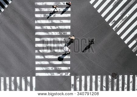Washington Dc,usa,febraury 2019,people On Road Walk Through The Zebra Crossing