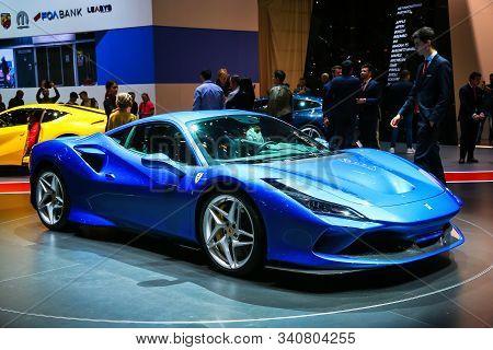 Geneva, Switzerland - March 10, 2019: Italian Supercar Ferrari F8 Tributo Unveiled At The Annual Gen