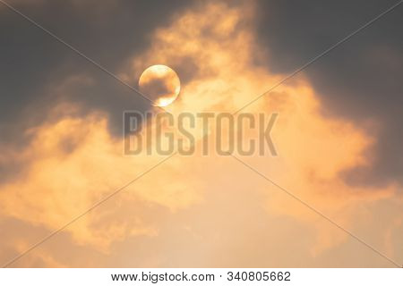 Australian Bushfire: Smoke From Bushfires Covers The Sky And Glowing Sun Barely Seen Through The Haz