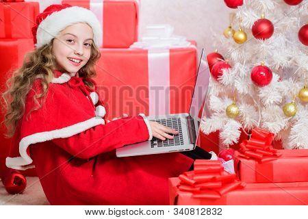 Letter For Santa. Wish List. Child Santa Enjoy Christmas Eve. Girl Little Kid Typing Letter To Santa