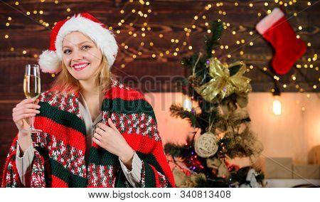 Dear Santa. Xmas Morning Joy. Woman Santa Hat At Decorated New Year Tree. Ready For Holidays. Happy