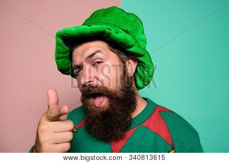 Just Perfect. St Patricks Day. Hipster With Beard Wearing Green Party Costume Pointing. Cheerful Man