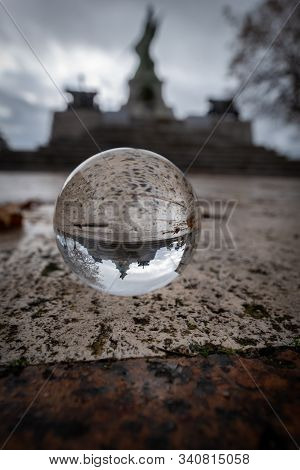 Caltanissetta Monument To The Fallen In Wwi In A Lensball, Sicily, Italy, Europe