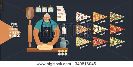 Pizza House -small Business Graphics -baker. Modern Flat Vector Concept Illustrations -a Bearded Man
