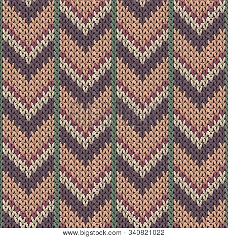 Jersey Downward Arrow Lines Knitted Texture Geometric Seamless Pattern. Rug Knitwear Structure Imita