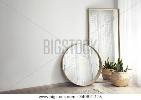 Mirrors And Potted Plant Near Window In Light Room