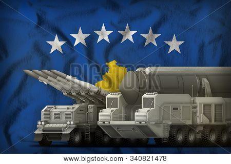 rocket forces on the Kosovo flag background. Kosovo rocket forces concept. 3d Illustration poster